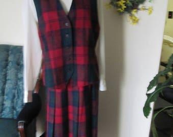 vtg Pendleton Vest Pleated Skirt Green Red rare Plaid paisley jacquard wool 12 M