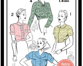1940s Blouses Sewing Pattern -  Full Size Paper  Sewing Pattern - 1940's Wartime Pattern