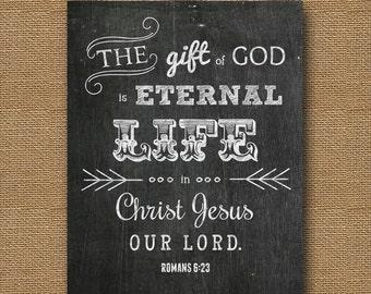 "Instant Download - Easter Chalkboard Bible Verse Wall Art DIY PRINTABLE Christian Scripture 8x10 -""Romans 6:23"""