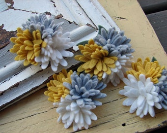 Wool Felt Flowers - Mini Daisies Yellow & Grey Trio - Set of 4 with Leaves