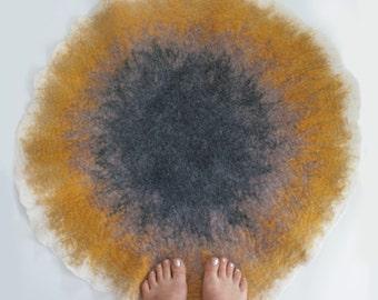 Home Decor Round Art Mat, Throw Rug, Two sided Carpet, Pad /Hand Felt Wool /Nursery, Pet, Bathroom, Sand Color Circle - Crisp Modern Design