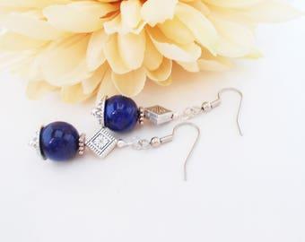 Sapphire Earrings Dark Blue Earrings Sterling Silver Jewelry, Jade Earrings Bohemian Jewelry Wedding, Birthday Gift Mom, Boho Earrings Gypsy