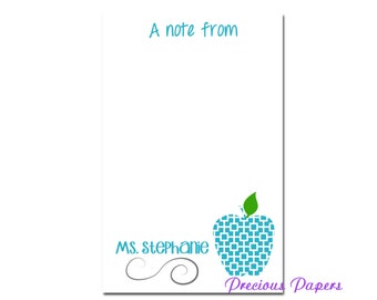 Personalized Teacher note pads Personalized teacher gift Personalized teacher teal trellis apple notepad apple note pad