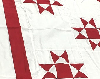 Very Traditional Red & White Ohio Star - QUILT TOP - Vibrant Graphic design