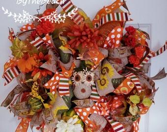 Owl wreath - Autumn wreath for front door - Fall floral wreath - Large fall wreath - Large pumpkin wreath - Thanksgiving wreath - Sunflower