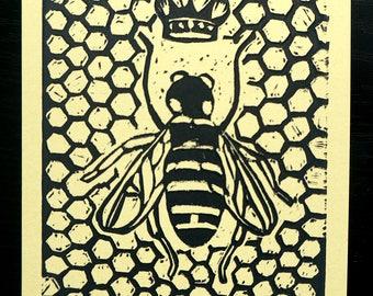 Queen Bee - block printed postcard