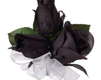 Black Silk Rose Corsage - Wedding Corsage Prom