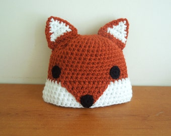 Baby Fox Hat crochet for 0 - 6 months and toddler, fox bonnet, photo outfit, boys or girls, baby clothes . Animal hat .  Fox baby beanie