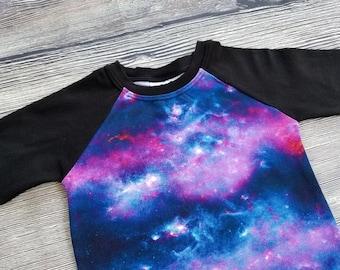 Galaxy Shirt Baby Raglan Shirt Baby Baseball Tee Toddler Raglan Shirt Toddler Baseball Tee Space Shirts Outer Space Galactic Nebula Hipster