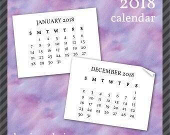 2018 Calendar Clip Art in Serif Font