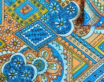 Vintage Fabric 70's Paisley Polyester, Orange, White, Blue, Textiles