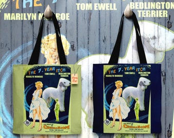 Bedlington Terrier Art Tote Bag - The Seven Year Itch Movie Poster   Perfect DOG LOVER Gift for Her Gift for Him