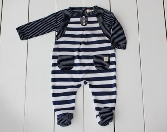 Babys Colour block and Stripe Organic jersey  Romper/Playsuit