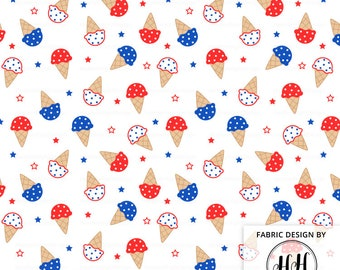 4th of July Ice Cream Fabric By The Yard / American Fabric / Independence Day Fabric / Patriotic Fabric /Summer Print in Yards & Fat Quarter
