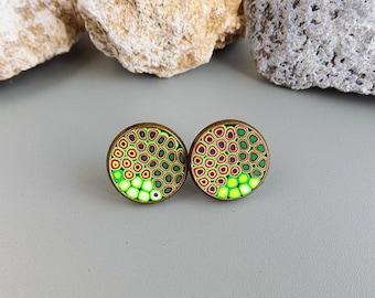 stud earrings Everyday earrings Teen girl gift Ideas polymer clay earrings Colourful earrings  Multicolor earrings Handmade gift for girl