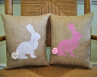 Rabbit pillow, Easter pillow, Spring pillow, Bunny pillow, Easter decor, stenciled pillow, Easter decorations, FREE SHIPPING!