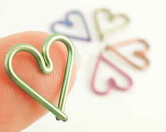 1 Heart - 16 gauge Niobium Heart Piercing - Hypoallergenic - You Pick Color