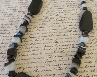 Black And White Striped Agate And Smoky Quartz Beaded Necklace 16N