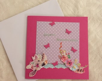 Birthday card and envelope made by hand