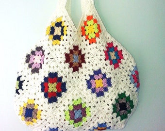 Crochet Bag, Shoulder Bag, Crochet Purse, Woman's Bag, Tote bag, Crochet tote Bag, Granny Square Bag, Summer Bag, Gift for Her
