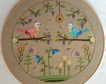 Two Birds Crewel Embroidery Pattern and Kit