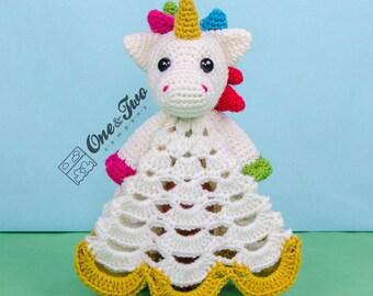 Nuru the Unicorn Lovey / Security Blanket - PDF Crochet Pattern - Instant Download - Blankie Baby Blanket
