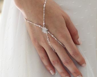 SILVER Bridal slave bracelet, Slave bracelet, Hand chain, Hand bracelet, Bridal bracelet , Bridal ring bracelet, Crystal slave bracelet