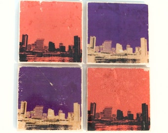 Baltimore Skyline Sports Coaster Set (4 Stone Coasters: Orange, Black, Purple, Gold) Cityscape Home Decor