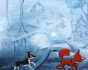 """Midnight Tracks-PRINT 12x12"""", train, forest print, dog and fox print, fox print"""