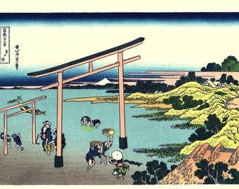 "Japanese Ukiyo-e Woodblock print, Katsushika Hokusai, ""Bay of Noboto, Thirty-six Views of Mount Fuji"""