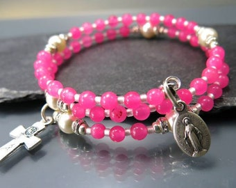 Rosary wrap bracelet pink jade miraculous medal silver color catholic jewelry by Rosenkranz-Atelier