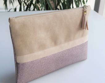 Evening pouch Tablet bag custom made hand sequined and beige