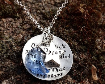 LIMITED TIME SALE On the night you were born... Necklace...Personalized... star and moon