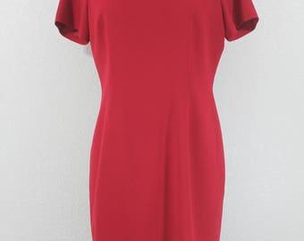 Talbots Vintage  Wool Sheath Dress in Red Short Sleeves midi