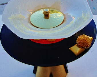 MID CENTURY Candle Holder 3D Record Art Stash Dish Vintage Vinyl Cone Shape Gold Metal Pedestal Votive Antique Ivory Textured Glass Black