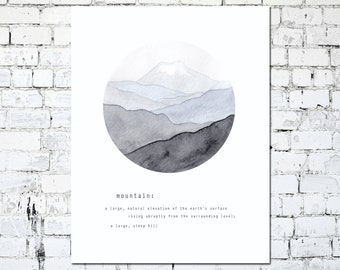 Mountain Watercolor Art Illustration - Earth and Nature - 8.5 x 11 - Instant Download - Print at Home - Digital Print - Wall Art Decor