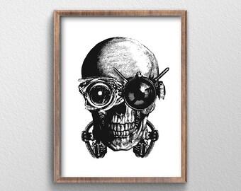 Skull/ Skull Art/ Steampunk/ Steampunk Art/ Skull Decor/ Steampunk Decor/ Skull Wall Art/ Skull Poster/ Steampunk Men Gift/ Skull Gift