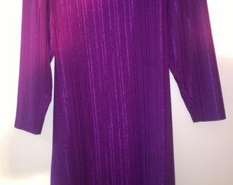 Vintage 70s dress purple shift dress 38 S