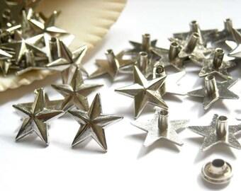 25 Sets Silver Star Rivet Studs - 20-R-3