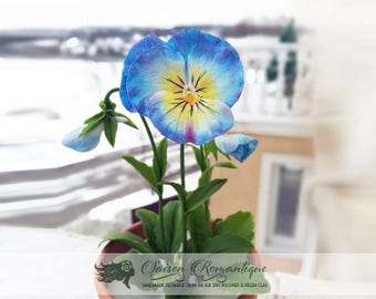 Pansies in the pot - Polymer Clay Flowers - Mothers Day Gift for Women Gift For Her Flower Pansies