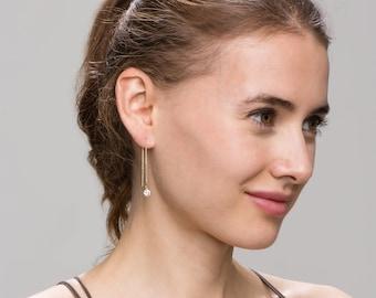CZ Ear Thread Earrings // Dangling Diamond Ear Thread // Threader earrings, gold statement hoops // Perfect Gift for Her