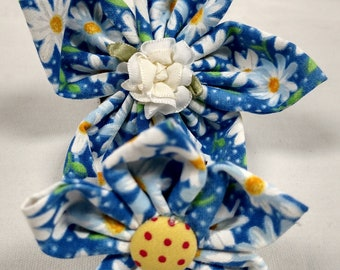 Blue w/White Daisies - Bow Tie or Flower