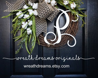 BEST SELLER! Cotton Grapevine Wreath. Year Round Wreath. Spring Wreath. Summer Wreath. Door Wreath. Grapevine Wreath.