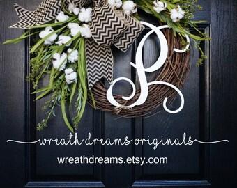 Cotton Grapevine Wreath. Year Round Wreath. Spring Wreath. Summer Wreath. Door  Wreath. Grapevine Wreath.
