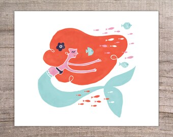 Swimming Mermaid Print 8x10, fish, sea, ocean, pink, red, blue, kids decor, mystical creature, wedding