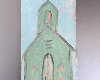 Chapel Painting/Church Art/Abstract Seaside Chapel Painting/Coastal Cottage Art