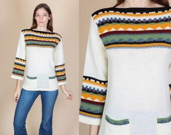 70s Boho Striped Sweater - Small   Vintage Boat Neck Pocket Tunic Knit Top