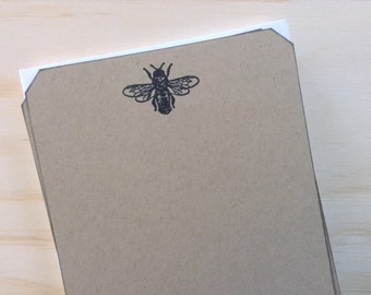 bee stationery set, bee note cards, vintage inspired flat note cards and envelopes