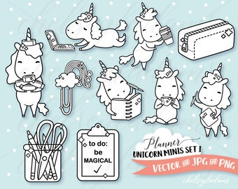 Planner Unicorn Digital Stamps Set, Digi Stamps, Chibi Vector Graphics, Cute DIY Planner Stickers, Commercial Use Sticker Clipart, Kawaii