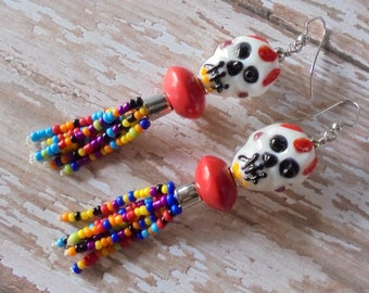 Red, White and Multicolor Day of the Dead Skull Tassel Earrings (3924)